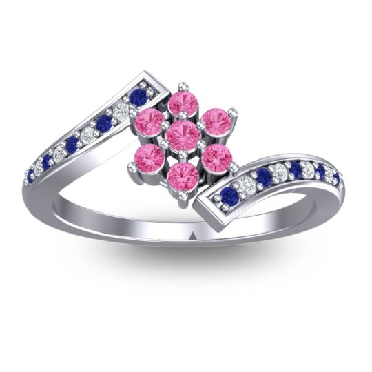 Simple Floral Pave Utpala Pink Tourmaline Ring with Blue Sapphire and Diamond in 18k White Gold