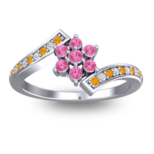Pink Tourmaline Simple Floral Pave Utpala Ring with Citrine and Diamond in 14k White Gold