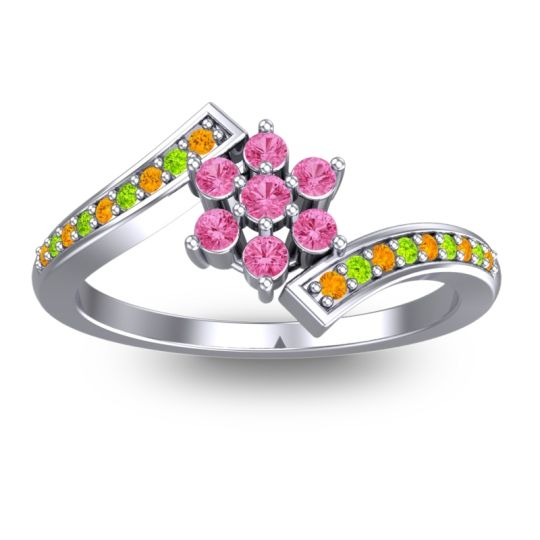 Pink Tourmaline Simple Floral Pave Utpala Ring with Citrine and Peridot in Platinum