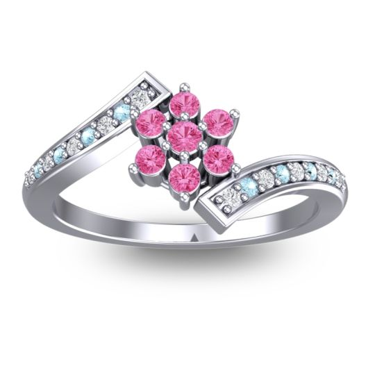 Pink Tourmaline Simple Floral Pave Utpala Ring with Diamond and Aquamarine in 18k White Gold