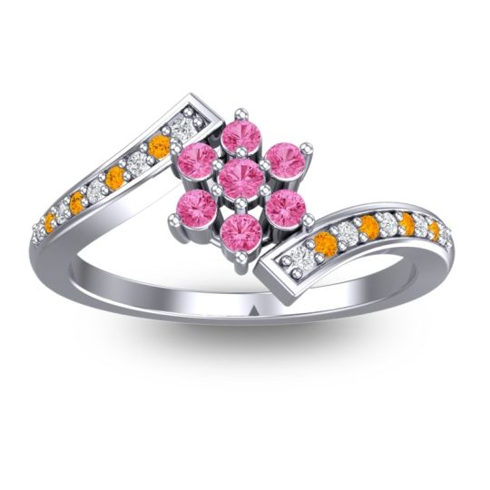 Pink Tourmaline Simple Floral Pave Utpala Ring with Diamond and Citrine in Palladium