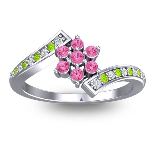 Pink Tourmaline Simple Floral Pave Utpala Ring with Diamond and Peridot in 14k White Gold