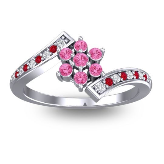 Pink Tourmaline Simple Floral Pave Utpala Ring with Diamond and Ruby in Platinum