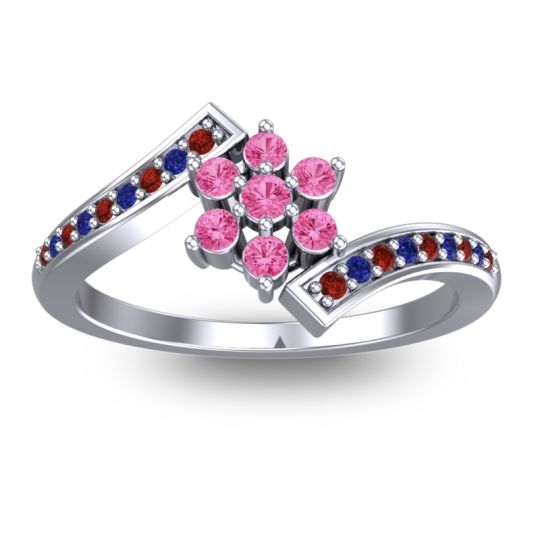 Pink Tourmaline Simple Floral Pave Utpala Ring with Garnet and Blue Sapphire in 14k White Gold