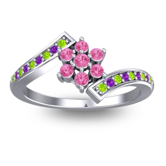 Pink Tourmaline Simple Floral Pave Utpala Ring with Peridot and Amethyst in Palladium
