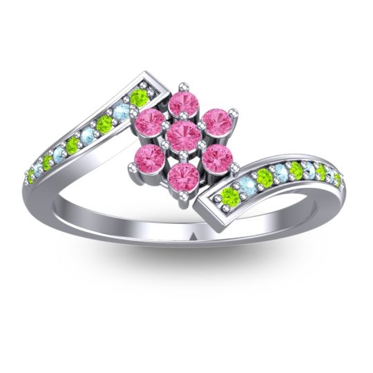 Pink Tourmaline Simple Floral Pave Utpala Ring with Peridot and Aquamarine in 14k White Gold