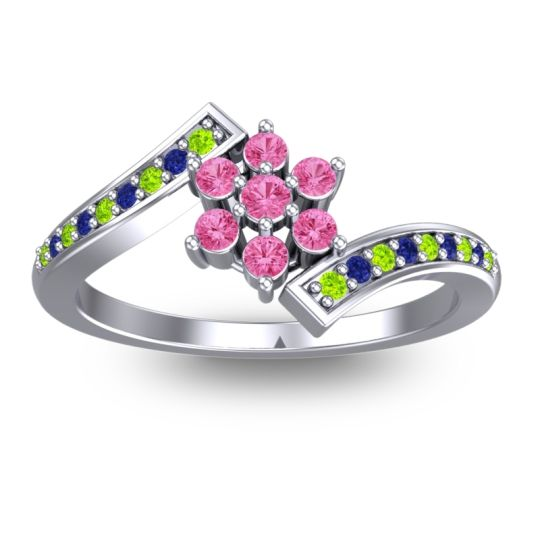 Pink Tourmaline Simple Floral Pave Utpala Ring with Peridot and Blue Sapphire in 14k White Gold