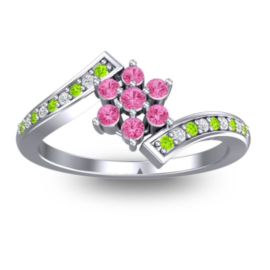 Pink Tourmaline Simple Floral Pave Utpala Ring with Peridot and Diamond in Platinum