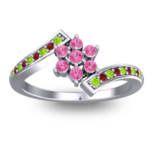 Pink Tourmaline Simple Floral Pave Utpala Ring with Peridot and Garnet in Palladium