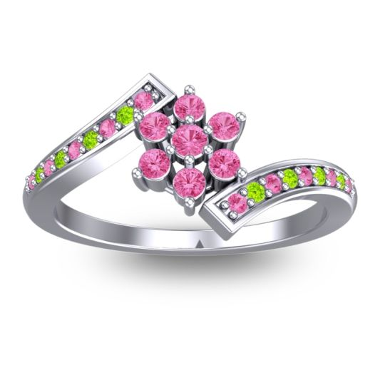 Pink Tourmaline Simple Floral Pave Utpala Ring with Peridot in 14k White Gold
