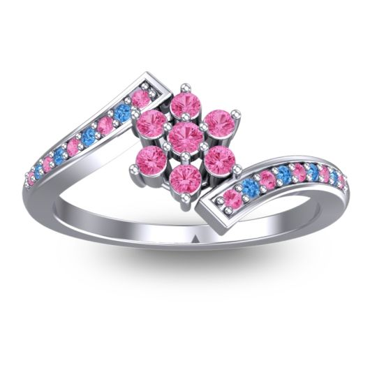 Pink Tourmaline Simple Floral Pave Utpala Ring with Swiss Blue Topaz in 18k White Gold