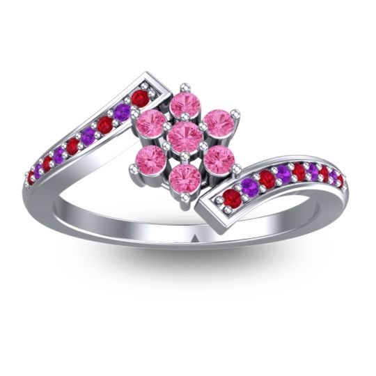Pink Tourmaline Simple Floral Pave Utpala Ring with Ruby and Amethyst in 18k White Gold