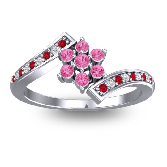 Simple Floral Pave Utpala Pink Tourmaline Ring with Ruby and Diamond in 18k White Gold