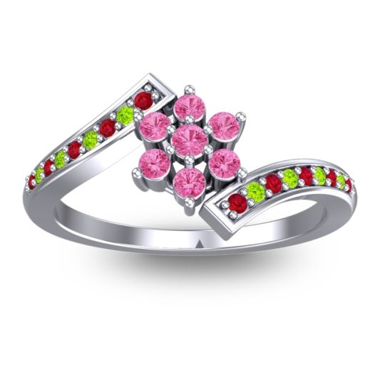 Pink Tourmaline Simple Floral Pave Utpala Ring with Ruby and Peridot in 18k White Gold