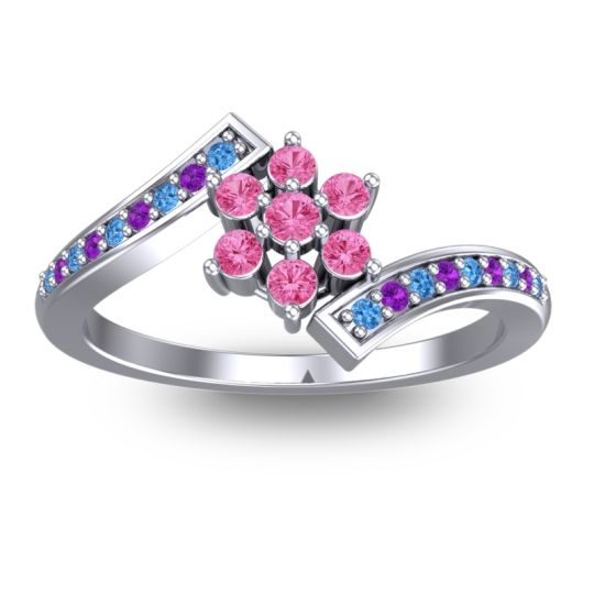 Pink Tourmaline Simple Floral Pave Utpala Ring with Swiss Blue Topaz and Amethyst in 18k White Gold