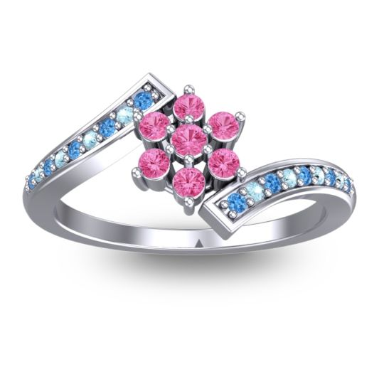 Pink Tourmaline Simple Floral Pave Utpala Ring with Swiss Blue Topaz and Aquamarine in 14k White Gold