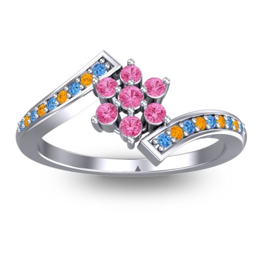 Pink Tourmaline Simple Floral Pave Utpala Ring with Swiss Blue Topaz and Citrine in Palladium