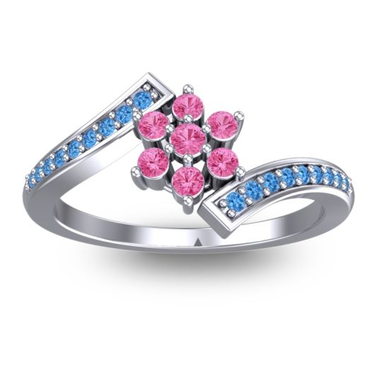 Simple Floral Pave Utpala Pink Tourmaline Ring with Swiss Blue Topaz in Palladium