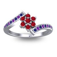 Simple Floral Pave Utpala Ruby Ring with Blue Sapphire and Amethyst in 14k White Gold