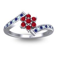 Simple Floral Pave Utpala Ruby Ring with Blue Sapphire and Aquamarine in Platinum