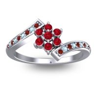 Simple Floral Pave Utpala Ruby Ring with Garnet and Aquamarine in Platinum