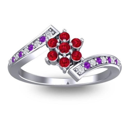 Simple Floral Pave Utpala Ruby Ring with Diamond and Amethyst in 18k White Gold