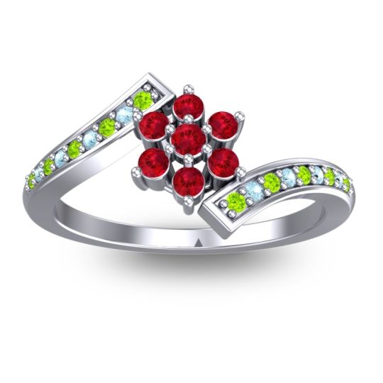 Simple Floral Pave Utpala Ruby Ring with Peridot and Aquamarine in 18k White Gold