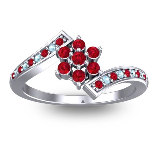 Simple Floral Pave Utpala Ruby Ring with Aquamarine in Platinum