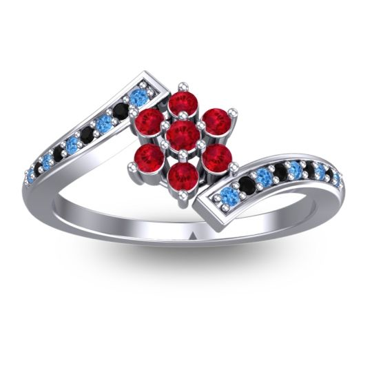 Simple Floral Pave Utpala Ruby Ring with Swiss Blue Topaz and Black Onyx in Palladium