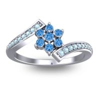 Simple Floral Pave Utpala Swiss Blue Topaz Ring with Aquamarine in 14k White Gold
