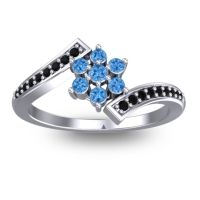 Simple Floral Pave Utpala Swiss Blue Topaz Ring with Black Onyx in Palladium