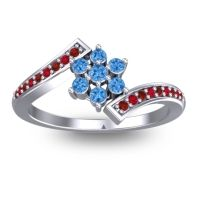 Simple Floral Pave Utpala Swiss Blue Topaz Ring with Garnet and Ruby in Platinum