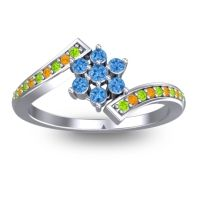Simple Floral Pave Utpala Swiss Blue Topaz Ring with Peridot and Citrine in Palladium