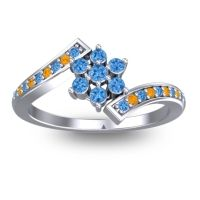 Simple Floral Pave Utpala Swiss Blue Topaz Ring with Citrine in Platinum