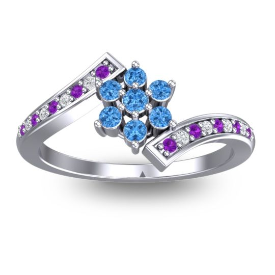 Simple Floral Pave Utpala Swiss Blue Topaz Ring with Amethyst and Diamond in 14k White Gold