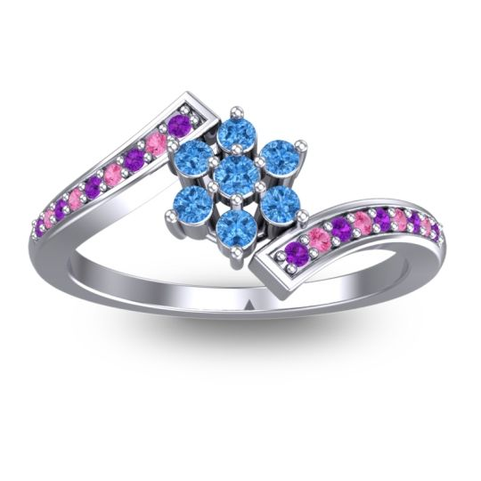 Simple Floral Pave Utpala Swiss Blue Topaz Ring with Amethyst and Pink Tourmaline in Palladium