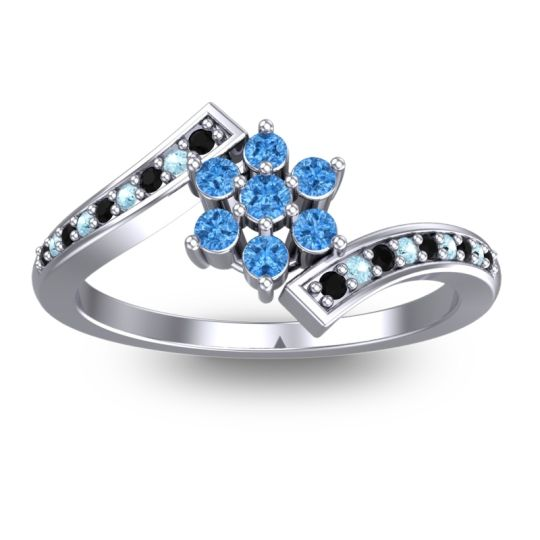 Simple Floral Pave Utpala Swiss Blue Topaz Ring with Black Onyx and Aquamarine in Palladium