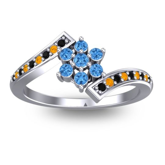 Simple Floral Pave Utpala Swiss Blue Topaz Ring with Black Onyx and Citrine in 18k White Gold