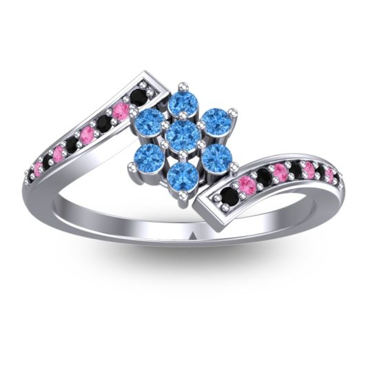Simple Floral Pave Utpala Swiss Blue Topaz Ring with Black Onyx and Pink Tourmaline in 18k White Gold