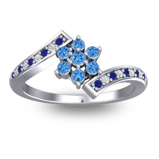Simple Floral Pave Utpala Swiss Blue Topaz Ring with Blue Sapphire and Diamond in Palladium