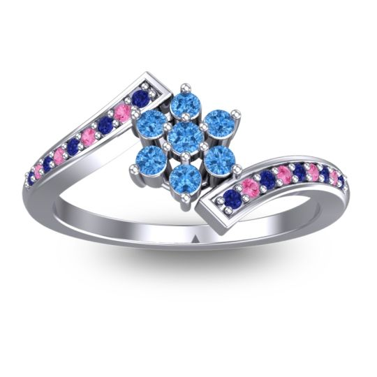 Simple Floral Pave Utpala Swiss Blue Topaz Ring with Blue Sapphire and Pink Tourmaline in Palladium
