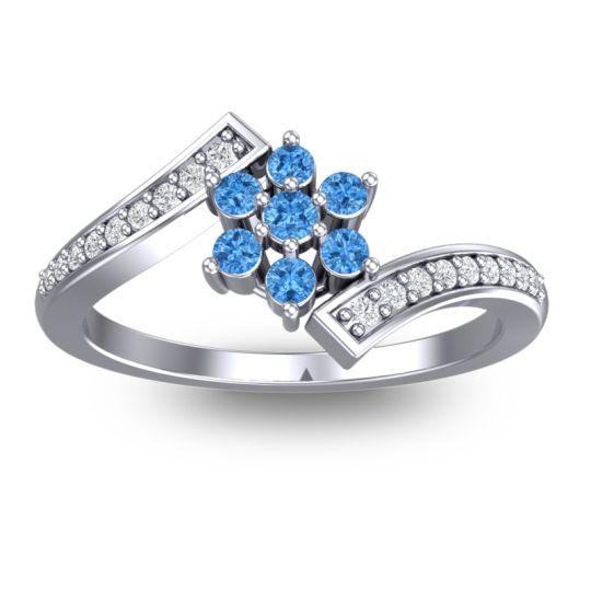 Simple Floral Pave Utpala Swiss Blue Topaz Ring with Diamond in Palladium