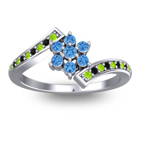Simple Floral Pave Utpala Swiss Blue Topaz Ring with Peridot and Black Onyx in 18k White Gold