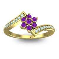 Simple Floral Pave Utpala Amethyst Ring with Aquamarine in 18k Yellow Gold