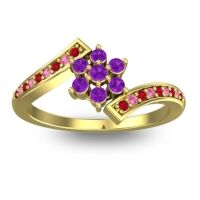 Simple Floral Pave Utpala Amethyst Ring with Ruby and Pink Tourmaline in 18k Yellow Gold