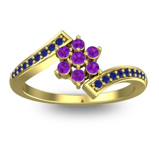 Simple Floral Pave Utpala Amethyst Ring with Blue Sapphire in 14k Yellow Gold