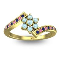 Simple Floral Pave Utpala Aquamarine Ring with Blue Sapphire and Pink Tourmaline in 18k Yellow Gold