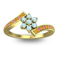 Simple Floral Pave Utpala Aquamarine Ring with Citrine and Pink Tourmaline in 18k Yellow Gold