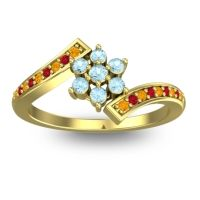 Simple Floral Pave Utpala Aquamarine Ring with Citrine and Ruby in 18k Yellow Gold