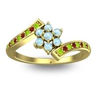 Simple Floral Pave Utpala Aquamarine Ring with Peridot and Garnet in 18k Yellow Gold
